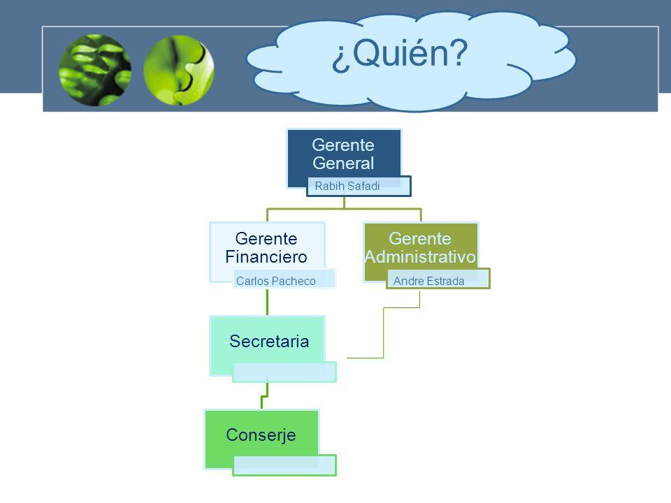 Gerente General Gerente Financiero -Secretaria Conserje Gerente Administrativo ¿Quién.