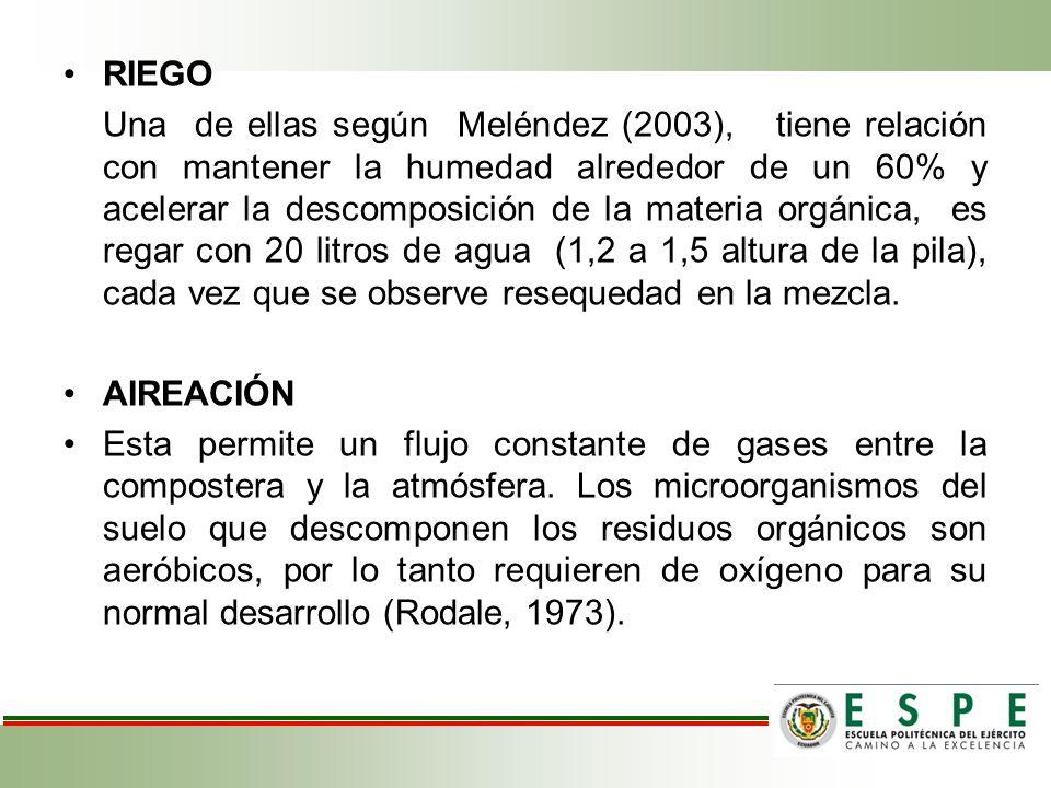RIEGO Una de ellas según Meléndez (2003), tiene relación con mantener la humedad alrededor de un 60% y acelerar la descomposición de la materia orgáni