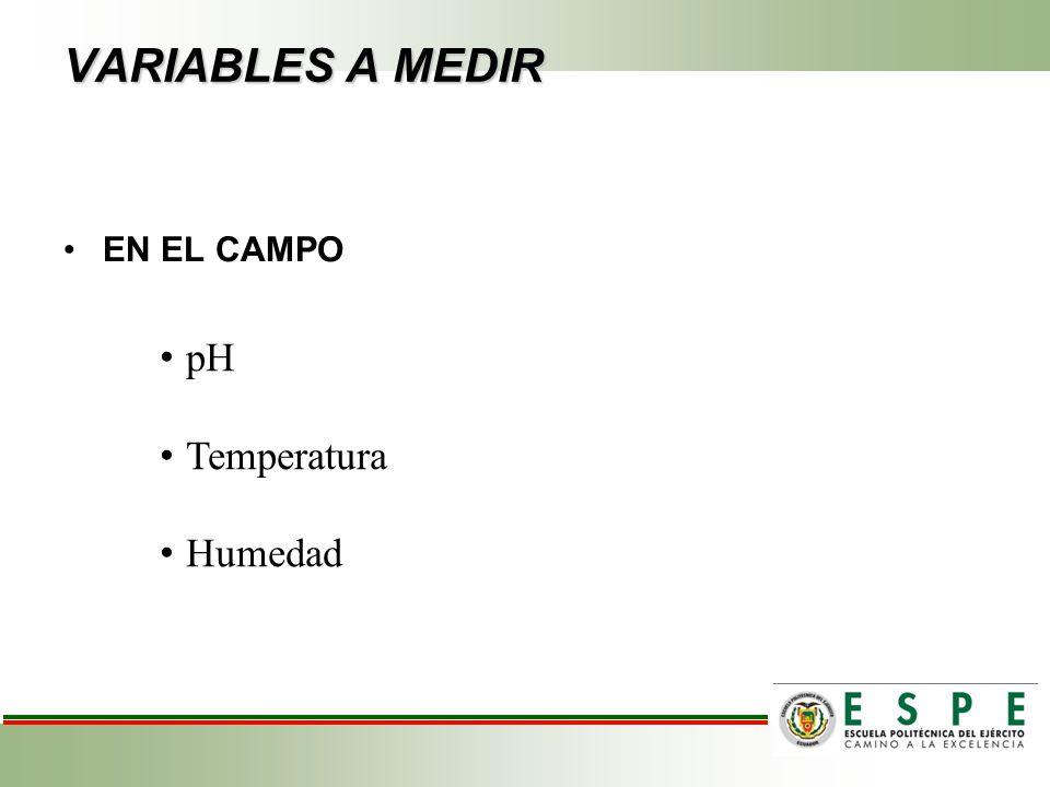 VARIABLES A MEDIR pH Temperatura Humedad EN EL CAMPO