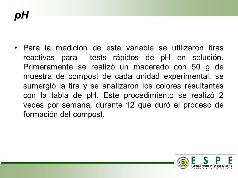 pH Para la medición de esta variable se utilizaron tiras reactivas para tests rápidos de pH en solución.