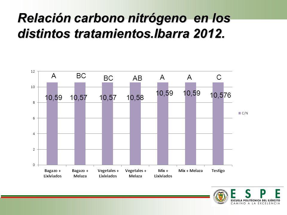 Relación carbono nitrógeno en los distintos tratamientos.Ibarra 2012. 10,59 10,57 10,58 10,576