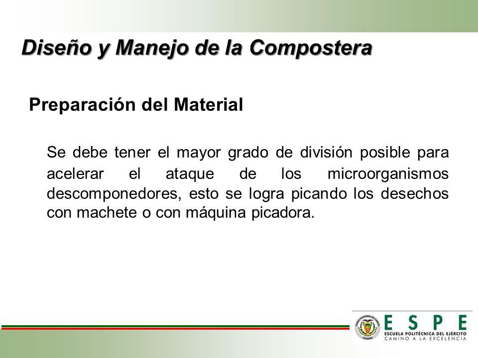 Preparación del Material Se debe tener el mayor grado de división posible para acelerar el ataque de los microorganismos descomponedores, esto se logr
