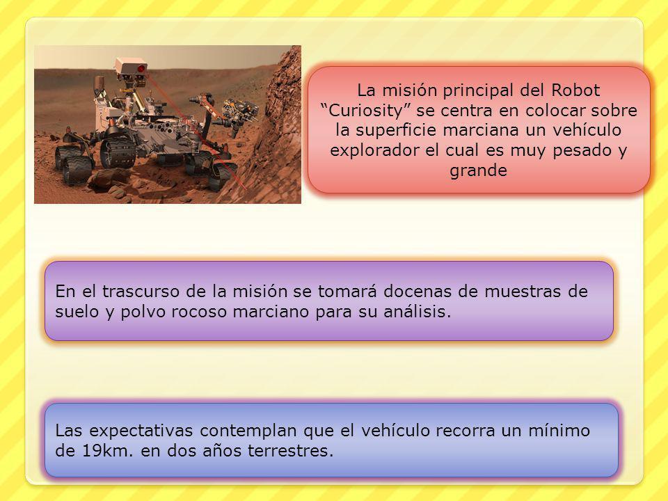 La misión principal del Robot Curiosity se centra en colocar sobre la superficie marciana un vehículo explorador el cual es muy pesado y grande En el