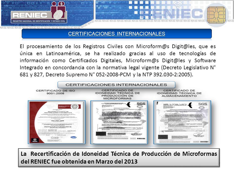El procesamiento de los Registros Civiles con Microform@s Digit@les, que es única en Latinoamérica, se ha realizado gracias al uso de tecnologías de información como Certificados Digitales, Microform@s Digit@les y Software Integrado en concordancia con la normativa legal vigente (Decreto Legislativo N° 681 y 827, Decreto Supremo N° 052-2008-PCM y la NTP 392.030-2:2005).