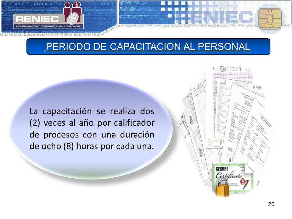 20 La capacitación se realiza dos (2) veces al año por calificador de procesos con una duración de ocho (8) horas por cada una.