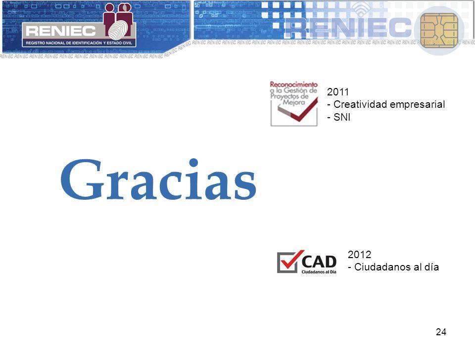 24 Gracias 2011 - Creatividad empresarial - SNI 2012 - Ciudadanos al día