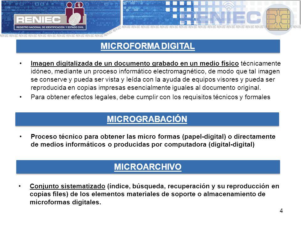 4 MICROFORMA DIGITAL Imagen digitalizada de un documento grabado en un medio físico técnicamente idóneo, mediante un proceso informático electromagnético, de modo que tal imagen se conserve y pueda ser vista y leída con la ayuda de equipos visores y pueda ser reproducida en copias impresas esencialmente iguales al documento original.