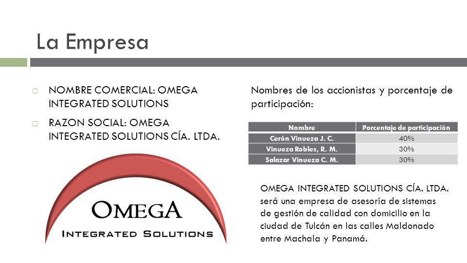 La Empresa NOMBRE COMERCIAL: OMEGA INTEGRATED SOLUTIONS RAZON SOCIAL: OMEGA INTEGRATED SOLUTIONS CÍA.
