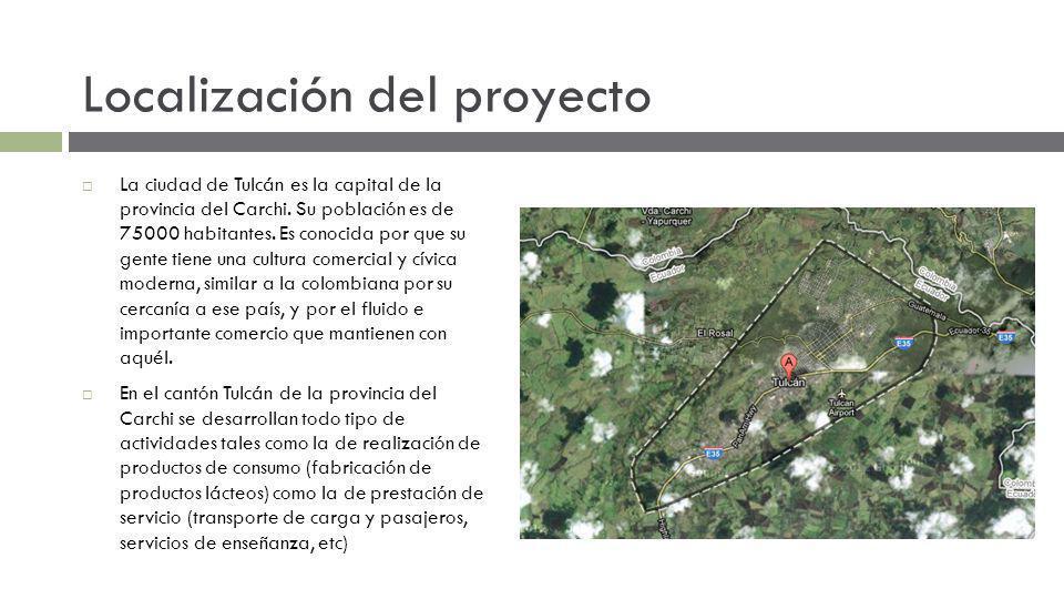 Localización del proyecto La ciudad de Tulcán es la capital de la provincia del Carchi. Su población es de 75000 habitantes. Es conocida por que su ge
