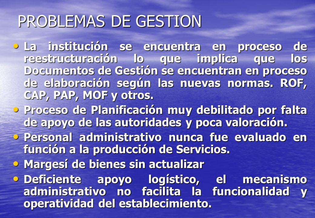 PROBLEMAS DE GESTION La institución se encuentra en proceso de reestructuración lo que implica que los Documentos de Gestión se encuentran en proceso