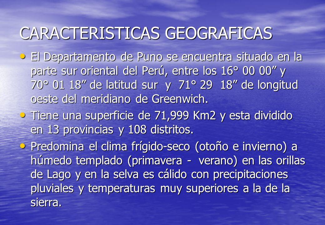 CARACTERISTICAS GEOGRAFICAS El Departamento de Puno se encuentra situado en la parte sur oriental del Perú, entre los 16° 00 00 y 70° 01 18 de latitud