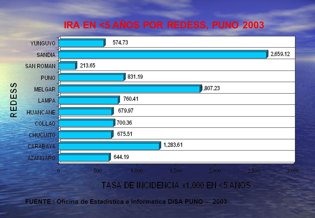IRA EN <5 AÑOS POR REDESS, PUNO 2003 FUENTE : Oficina de Estadistica e Informatica DISA PUNO – 2003