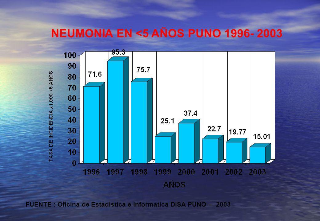 NEUMONIA EN <5 AÑOS PUNO 1996- 2003 FUENTE : Oficina de Estadistica e Informatica DISA PUNO – 2003