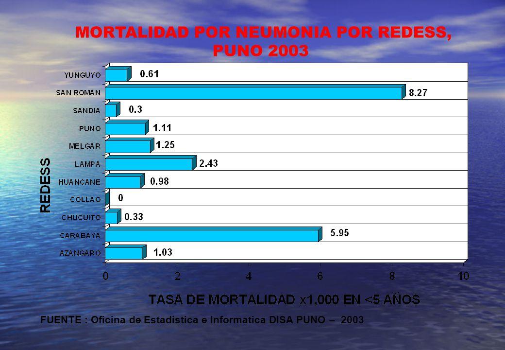 MORTALIDAD POR NEUMONIA POR REDESS, PUNO 2003 FUENTE : Oficina de Estadistica e Informatica DISA PUNO – 2003