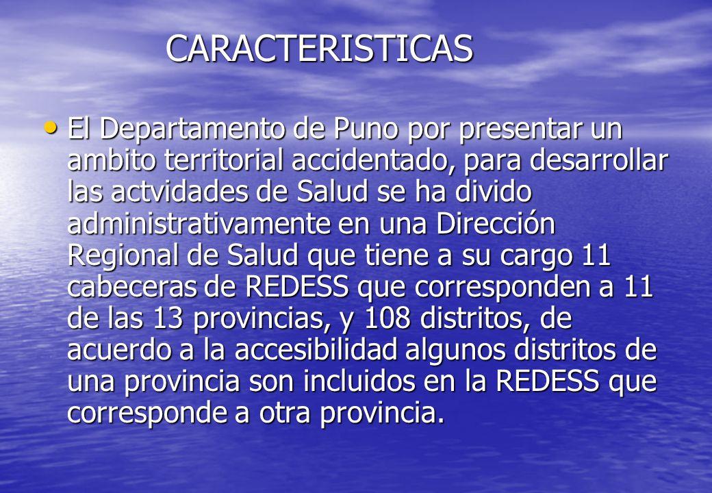 CARACTERISTICAS El Departamento de Puno por presentar un ambito territorial accidentado, para desarrollar las actvidades de Salud se ha divido adminis