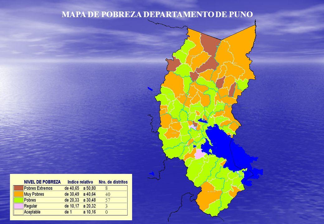 MAPA DE POBREZA DEPARTAMENTO DE PUNO 8 40 57 3 0