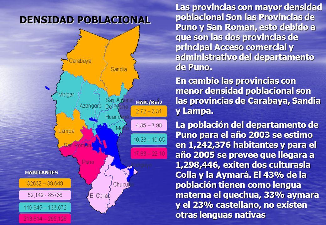 DENSIDAD POBLACIONAL HABITANTES HAB./Km2 Las provincias con mayor densidad poblacional Son las Provincias de Puno y San Roman, esto debido a que son l