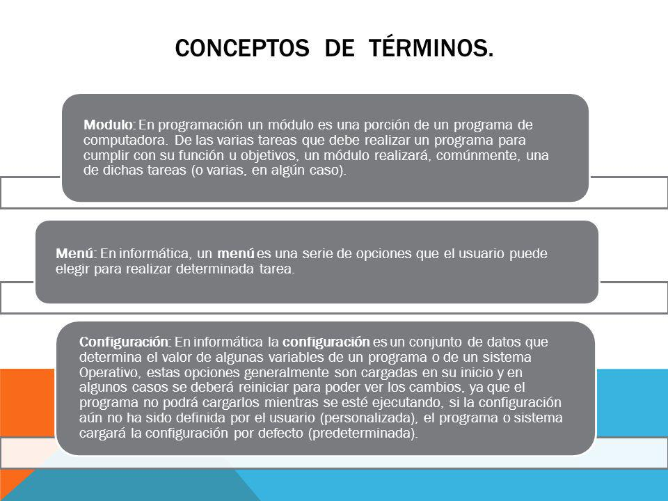 CONCEPTOS DE TÉRMINOS.Sección : En informática es una parte en las que se dividen las opciones.