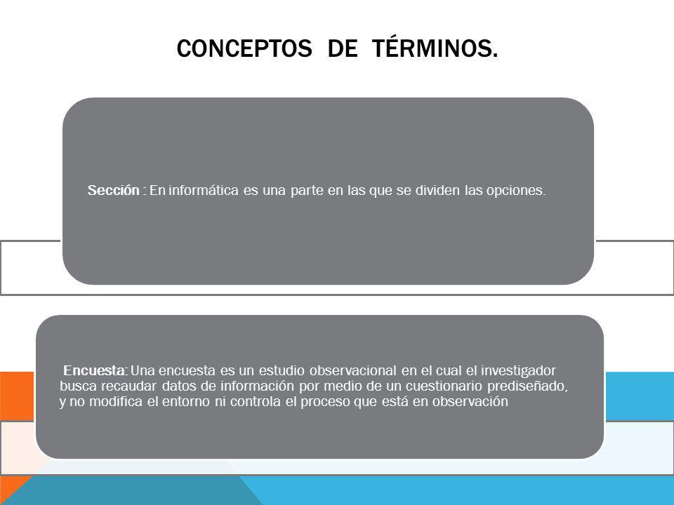 CONCEPTOS DE TÉRMINOS. Sección : En informática es una parte en las que se dividen las opciones.