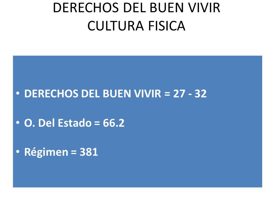 DERECHOS DEL BUEN VIVIR CULTURA FISICA DERECHOS DEL BUEN VIVIR = 27 - 32 O. Del Estado = 66.2 Régimen = 381