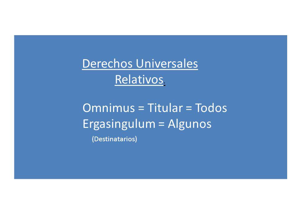Derechos Universales Relativos. Omnimus = Titular = Todos Ergasingulum = Algunos (Destinatarios)