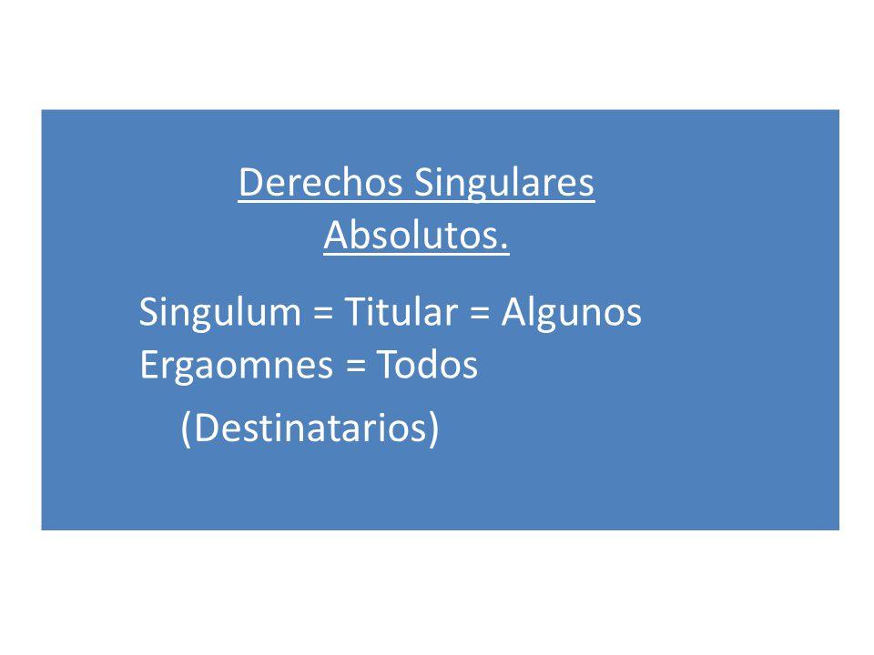 Derechos Singulares Absolutos. Singulum = Titular = Algunos Ergaomnes = Todos (Destinatarios)