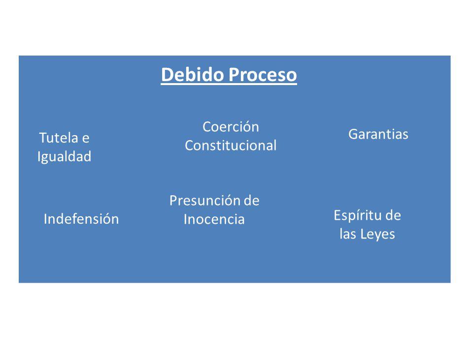 Debido Proceso Tutela e Igualdad Indefensión Presunción de Inocencia Coerción Constitucional Espíritu de las Leyes Garantias