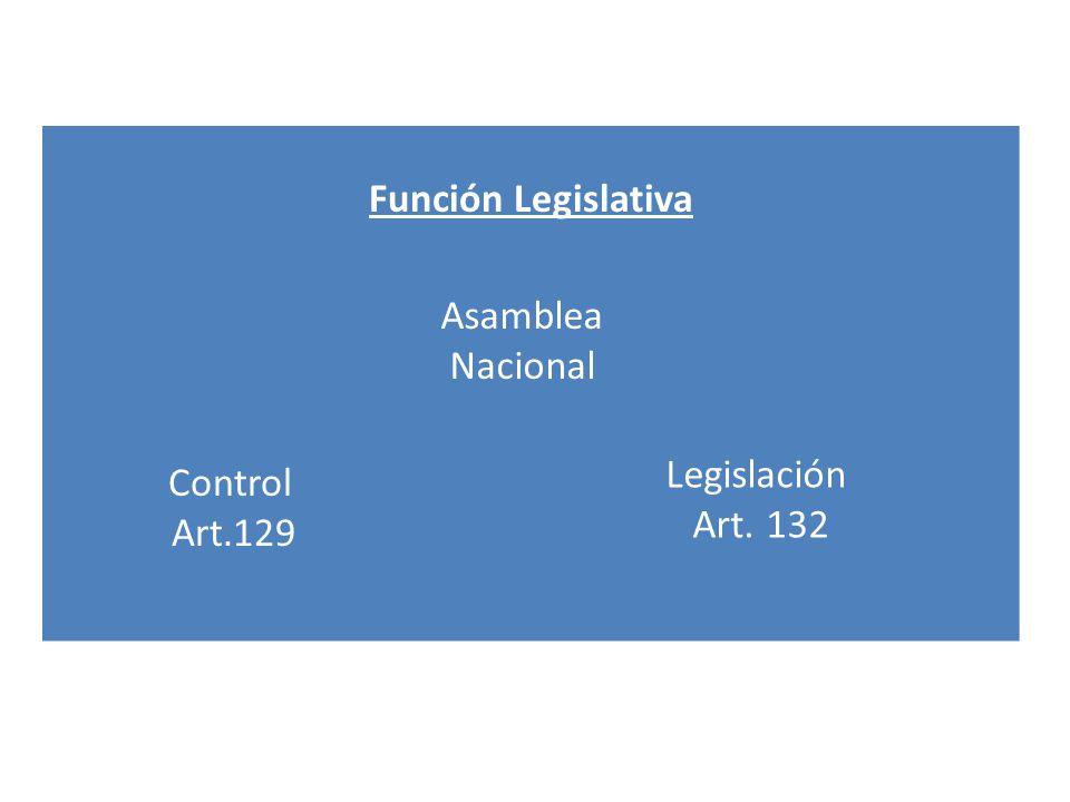 Función Legislativa Asamblea Nacional Control Art.129 Legislación Art. 132