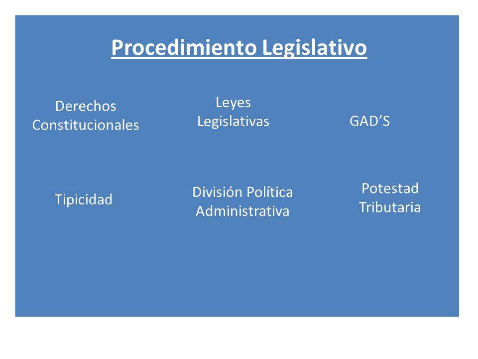 Procedimiento Legislativo Derechos Constitucionales Tipicidad GADS Potestad Tributaria División Política Administrativa Leyes Legislativas