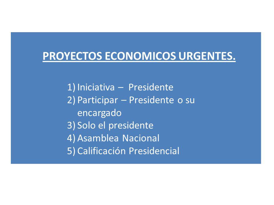 PROYECTOS ECONOMICOS URGENTES. 1)Iniciativa – Presidente 2)Participar – Presidente o su encargado 3)Solo el presidente 4)Asamblea Nacional 5)Calificac