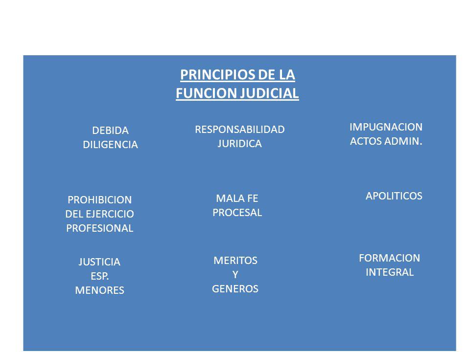 PRINCIPIOS DE LA FUNCION JUDICIAL DEBIDA DILIGENCIA RESPONSABILIDAD JURIDICA IMPUGNACION ACTOS ADMIN. PROHIBICION DEL EJERCICIO PROFESIONAL MALA FE PR