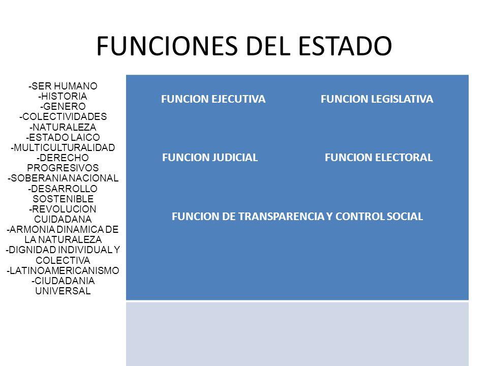 FUNCIONES DEL ESTADO -SER HUMANO -HISTORIA -GENERO -COLECTIVIDADES -NATURALEZA -ESTADO LAICO -MULTICULTURALIDAD -DERECHO PROGRESIVOS -SOBERANIA NACION