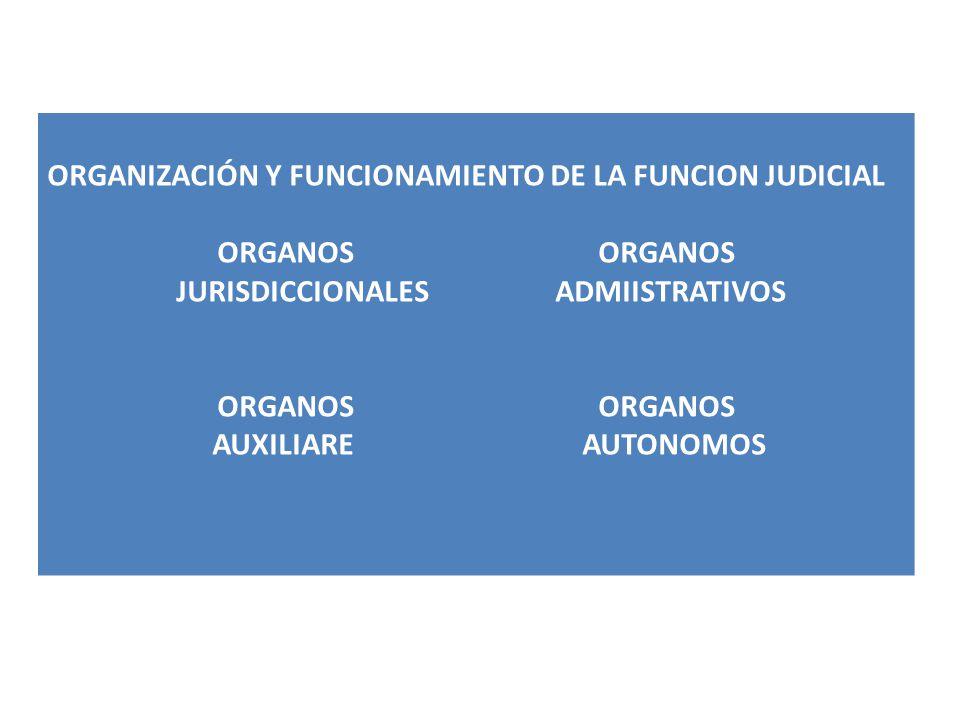 ORGANIZACIÓN Y FUNCIONAMIENTO DE LA FUNCION JUDICIAL ORGANOS JURISDICCIONALES ADMIISTRATIVOS ORGANOS AUXILIARE AUTONOMOS
