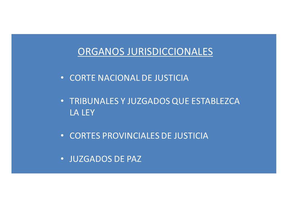ORGANOS JURISDICCIONALES CORTE NACIONAL DE JUSTICIA TRIBUNALES Y JUZGADOS QUE ESTABLEZCA LA LEY CORTES PROVINCIALES DE JUSTICIA JUZGADOS DE PAZ