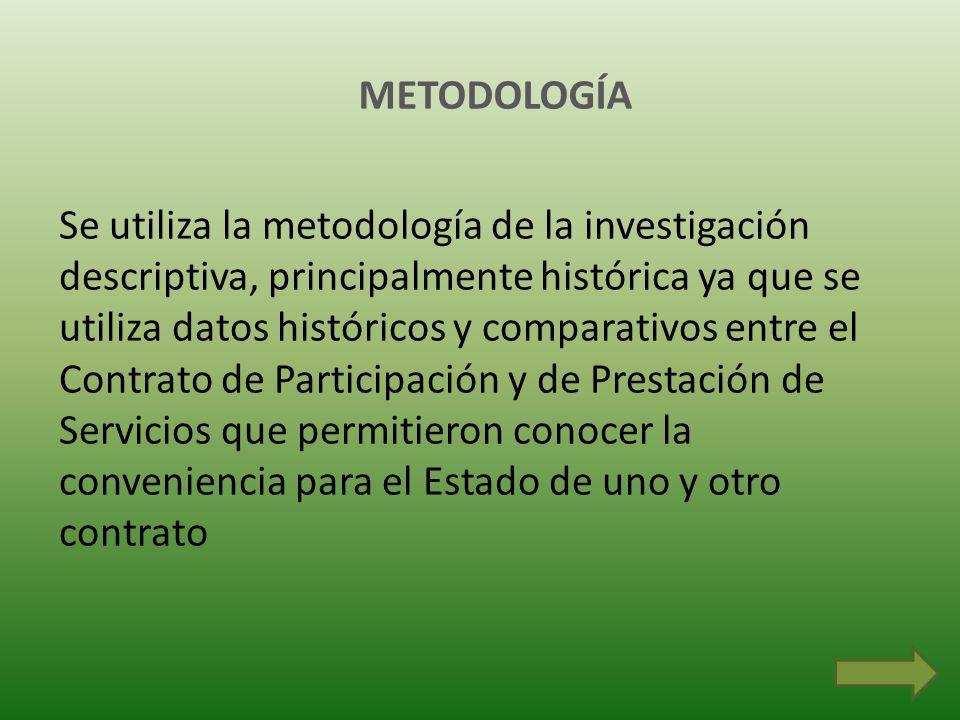 METODOLOGÍA Se utiliza la metodología de la investigación descriptiva, principalmente histórica ya que se utiliza datos históricos y comparativos entre el Contrato de Participación y de Prestación de Servicios que permitieron conocer la conveniencia para el Estado de uno y otro contrato