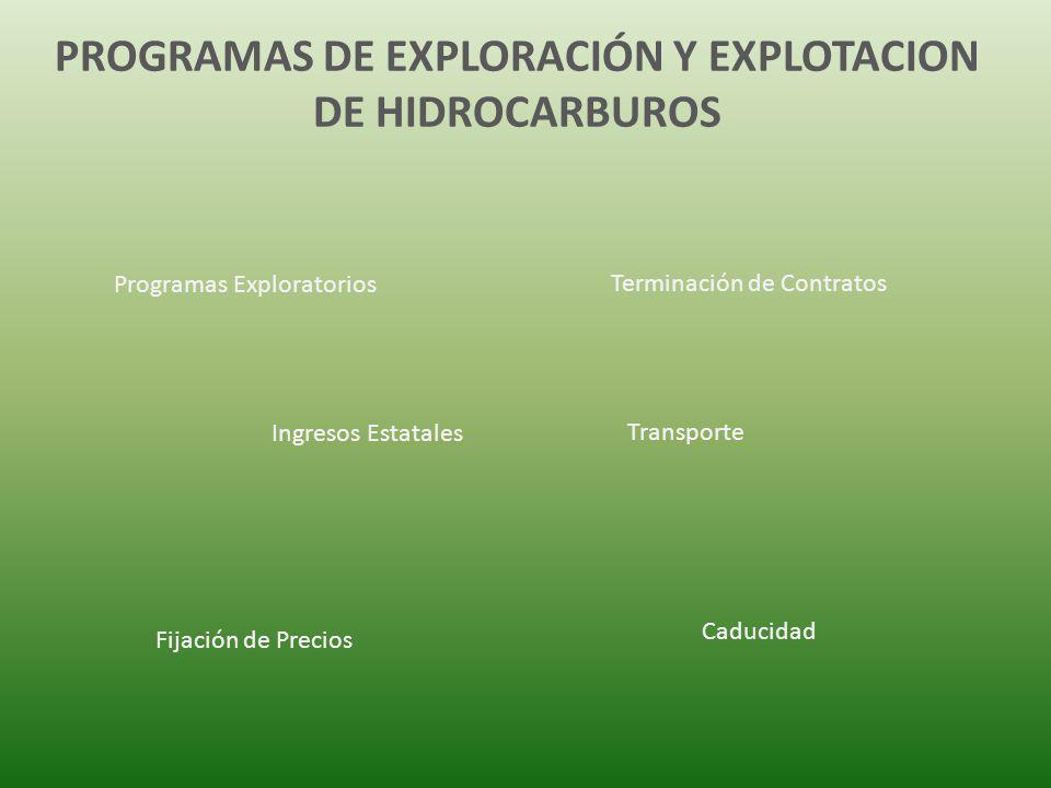 PROGRAMAS DE EXPLORACIÓN Y EXPLOTACION DE HIDROCARBUROS Programas Exploratorios Terminación de Contratos Ingresos Estatales Transporte Fijación de Pre