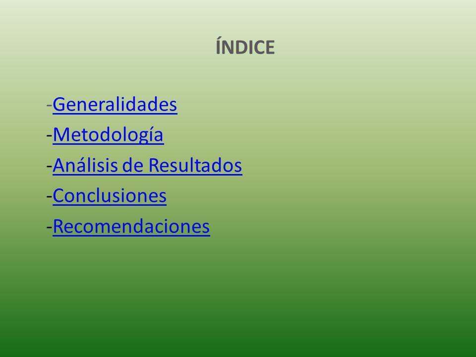 ÍNDICE -GeneralidadesGeneralidades -MetodologíaMetodología -Análisis de ResultadosAnálisis de Resultados -ConclusionesConclusiones -RecomendacionesRecomendaciones