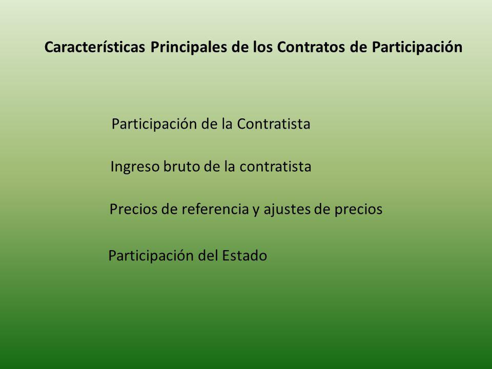 Características Principales de los Contratos de Participación Participación de la Contratista Ingreso bruto de la contratista Precios de referencia y ajustes de precios Participación del Estado
