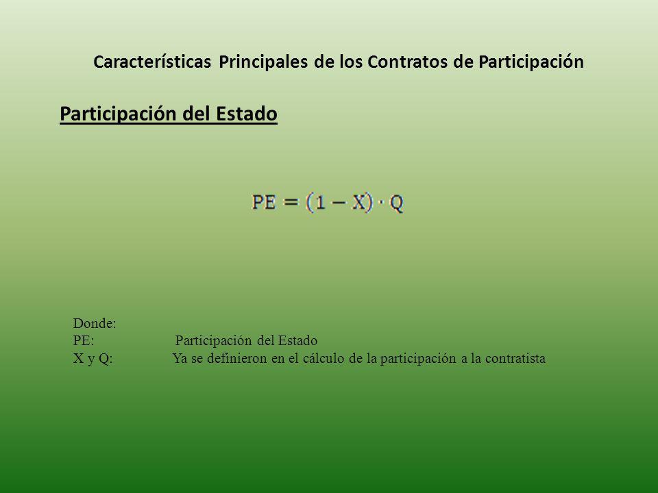 Características Principales de los Contratos de Participación Participación del Estado Donde: PE: Participación del Estado X y Q: Ya se definieron en el cálculo de la participación a la contratista