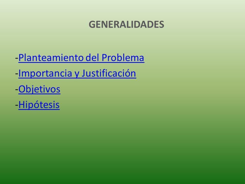 GENERALIDADES -Planteamiento del ProblemaPlanteamiento del Problema -Importancia y JustificaciónImportancia y Justificación -ObjetivosObjetivos -HipótesisHipótesis
