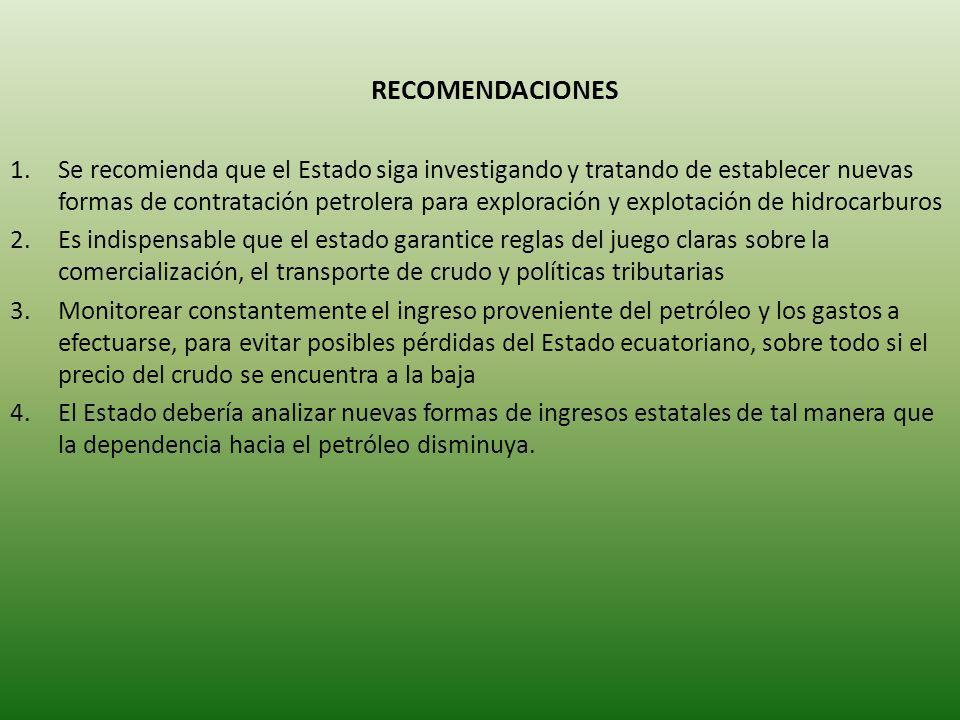 RECOMENDACIONES 1.Se recomienda que el Estado siga investigando y tratando de establecer nuevas formas de contratación petrolera para exploración y ex