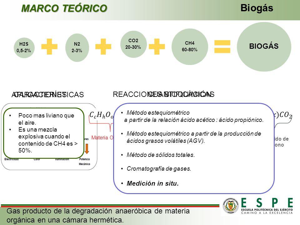 Biogás MARCO TEÓRICO Gas producto de la degradación anaeróbica de materia orgánica en una cámara hermética. CO2 20-30% N2 2-3% H2S 0,5-2% CH4 60-80% B
