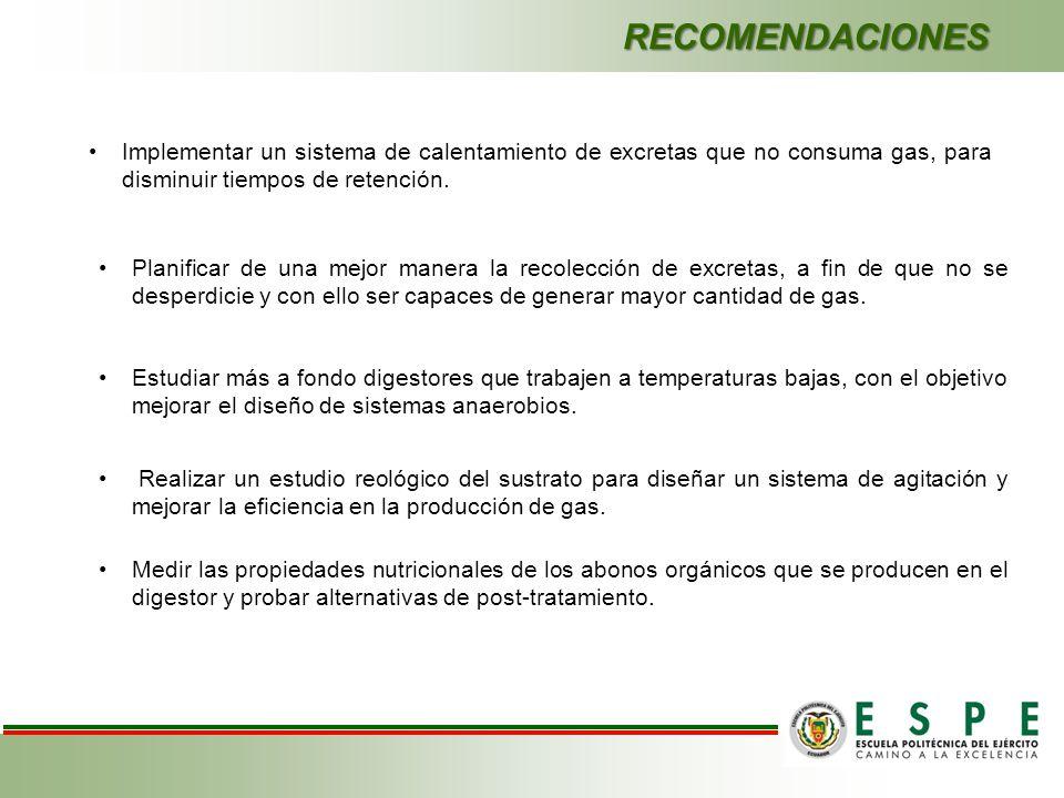 RECOMENDACIONES Implementar un sistema de calentamiento de excretas que no consuma gas, para disminuir tiempos de retención. Planificar de una mejor m