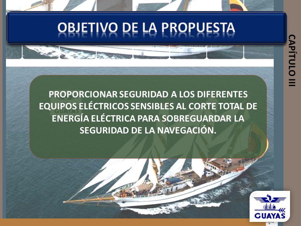 CAPÍTULO III PROPORCIONAR SEGURIDAD A LOS DIFERENTES EQUIPOS ELÉCTRICOS SENSIBLES AL CORTE TOTAL DE ENERGÍA ELÉCTRICA PARA SOBREGUARDAR LA SEGURIDAD D
