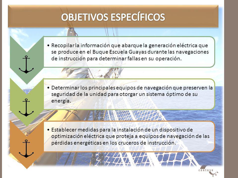 Recopilar la información que abarque la generación eléctrica que se produce en el Buque Escuela Guayas durante las navegaciones de instrucción para de