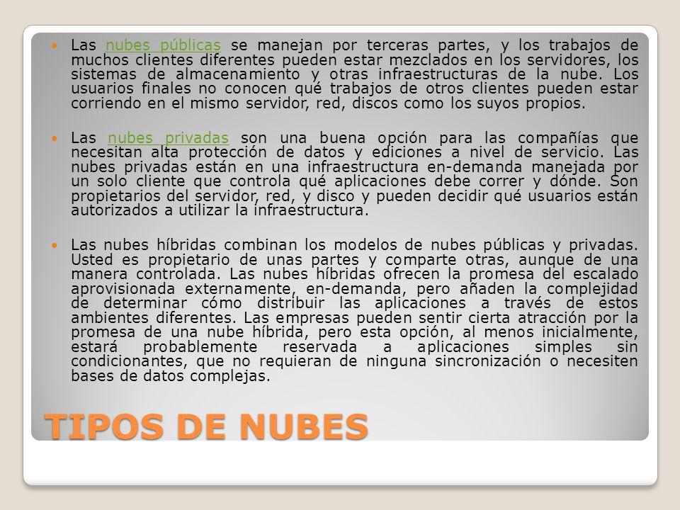 TIPOS DE NUBES Las nubes públicas se manejan por terceras partes, y los trabajos de muchos clientes diferentes pueden estar mezclados en los servidore