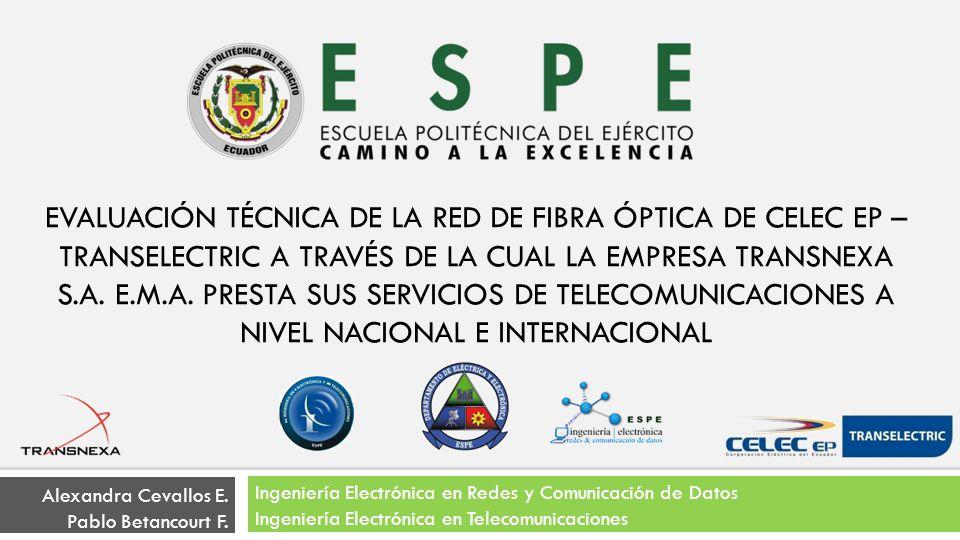 RED DE FIBRA ÓPTICA SITUACIÓN ACTUAL NODOS DE BACKBONE Y SECUNDARIOS Equipamiento PDH, SDH y/o DWDM Sistemas de Alimentación AC y DC Sistemas de aire acondicionado EVALUACIÓN TÉCNICA DE LA RED DE FIBRA ÓPTICA DE CELEC EP – TRANSELECTRIC A TRAVÉS DE LA CUAL LA EMPRESA TRANSNEXA S.A.