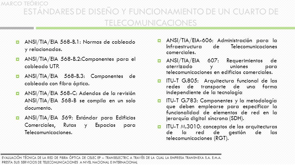 ANSI/TIA/EIA 568-B.1: Normas de cableado y relacionadas. ANSI/TIA/EIA 568-B.2:Componentes para el cableado UTP. ANSI/TIA/EIA 568-B.3: Componentes de c