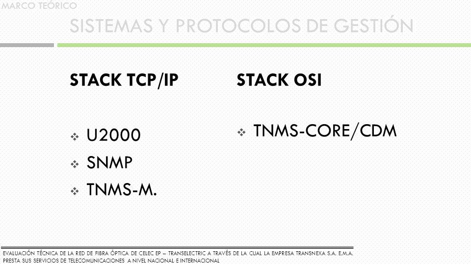 SISTEMAS Y PROTOCOLOS DE GESTIÓN STACK TCP/IP U2000 SNMP TNMS-M. STACK OSI TNMS-CORE/CDM MARCO TEÓRICO EVALUACIÓN TÉCNICA DE LA RED DE FIBRA ÓPTICA DE