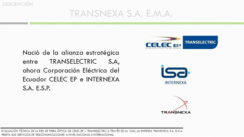 TRANSNEXA S.A. E.M.A. Nació de la alianza estratégica entre TRANSELECTRIC S.A, ahora Corporación Eléctrica del Ecuador CELEC EP e INTERNEXA S.A. E.S.P